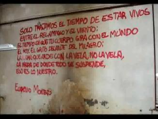 """Poema escrit per un dels afectats a la paret de la """"Cereria Mas"""", ara enderrocada"""