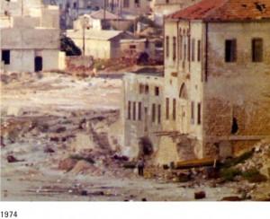 Ruinas de un edificio en la playa de Jaffa, hoy parcialmente demolido y convertido en un museo sionista.