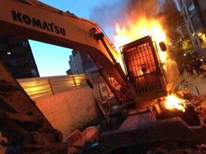 The fire that burned this escavator died out; but the one that thousands of us keep inside, is still burning.